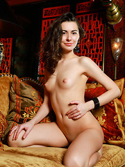 Stella Moon sensually poses on the sofa as she strips her sexy lingerie.