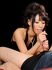 Japanese babe Oguri Miku doing handjob