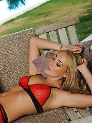 Lucy Anne: Sexy Red Lingerie & Stockings