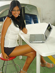 Karla checking her emails
