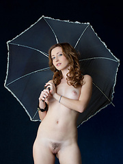 naked Janelle B gets wet in the rain