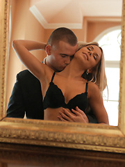 Join blonde babe Dido Angel as she seduces her man out of his suit and into her warm bald pussy for a raunchy good time