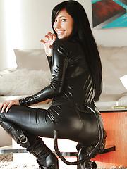 Cute Catie Minx channels her comic book here the villainous slut Catwoman