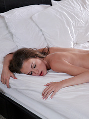 Brunette sex kitten Kacy Lane gets her small tits rubbed and her bald pussy licked and fucked in a morning after romp