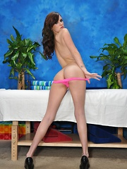 Cute brunette Jayden is seduced and fucked hard by her massage therapist