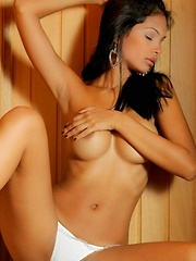 Karla gets naked on hard wood