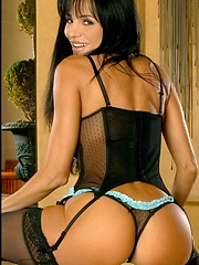 Latina Fox in Sexy Corset with Garter Belt