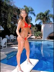 Red Micro Bikini Babe Poolside