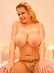 British Big Tits Babe in Soap and Candle Wax Bath