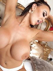 Hey guys! The lovely busty boob-ness of 32H Danniella Levy is back to make sure that happens with the final installment from her debut photo shoot is here! Those huge tits... that sexy smile... those long lovely nipples...