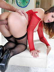Ashley Adams feeds her hungry pussy with a large dick
