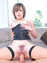 Watch hot fucking red head get banged hanging from the ceiling in these hot fucking pussy creampie pics